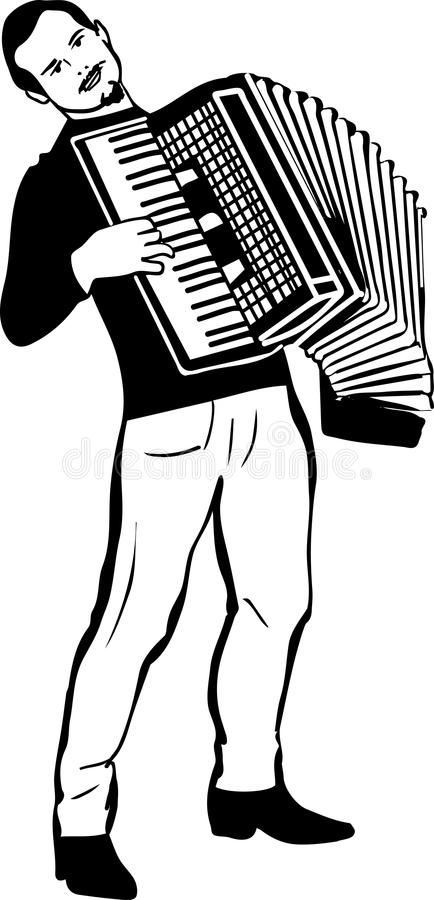 Sketch of a man playing the accordion. Black and white sketch of a man playing the accordion stock illustration