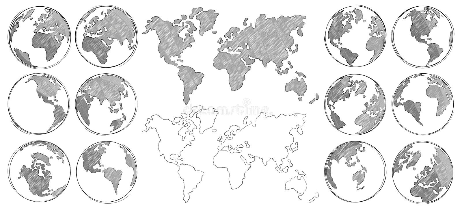 Sketch map. Hand drawn earth globe, drawing world maps and globes sketches isolated vector illustration royalty free illustration