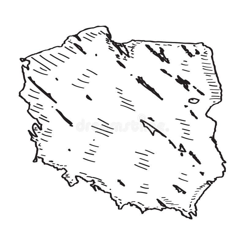 Sketch of a map of Poland. Vector illustration design royalty free illustration