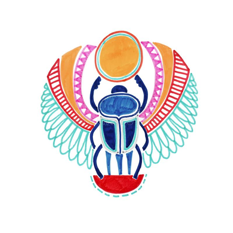 Sketch marker drawing of egyptian deity scarab beetle royalty free illustration