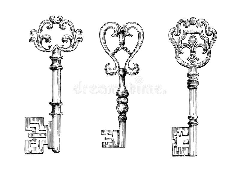 Line Drawing Key : Sketch of medieval skeleton keys stock vector