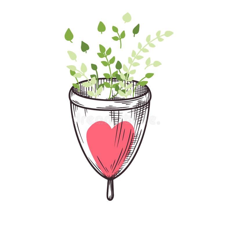 Sketch the menstrual cup. Zero waste. Vector stock illustration