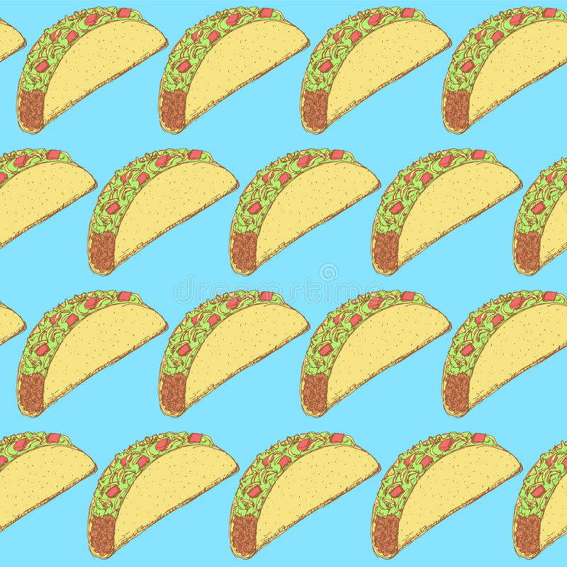 Sketch mexican taco in vintage style royalty free illustration