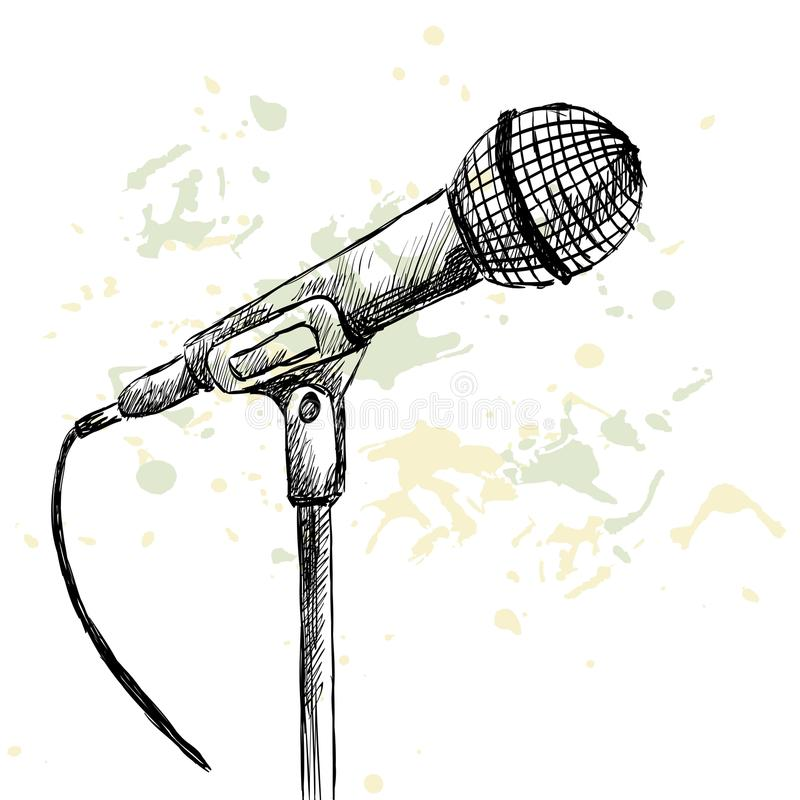 Sketch microphone. Sketch microphone on a white background with blots royalty free illustration