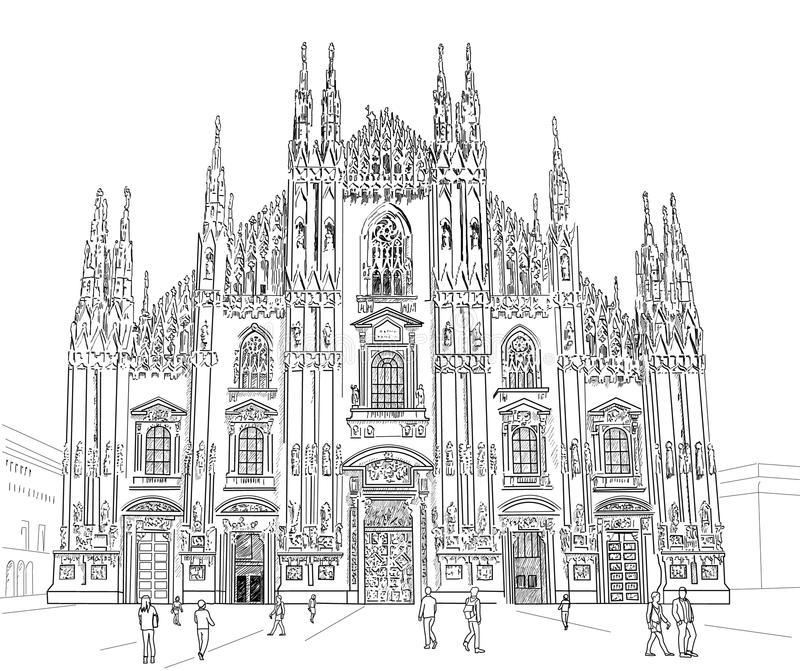 Sketch Milan Cathedral vector illustration