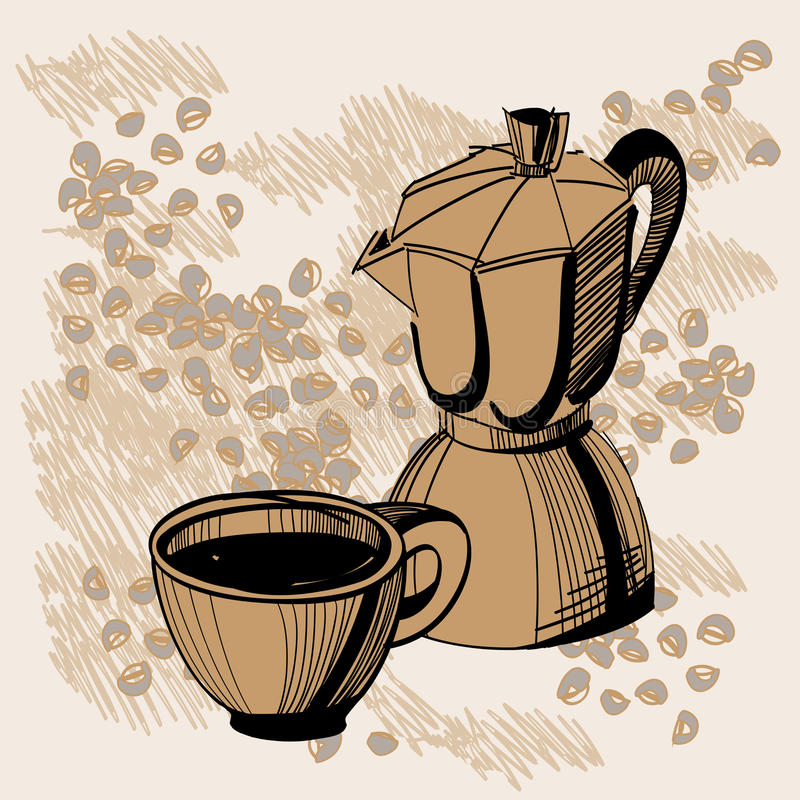 Sketch Of Mocha Coffee Maker And Coffee Cup Royalty Free Stock Images