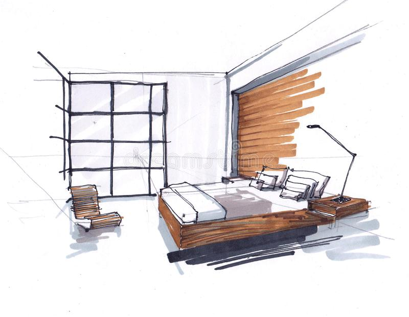 Sketch of a modern bedroom. floor-to-ceiling Windows, large double bed with pillows. bedside table with lamp. brown tone stock illustration