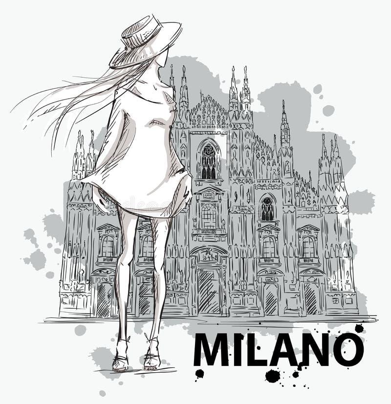 sketch mody Dziewczyna na Milano Duomo tle ilustracji