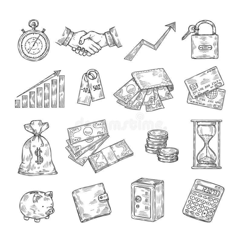 Sketch money. Hand drawn coin pile piggy bank credit cards safe dollar vintage banking business finance vector doodle royalty free illustration