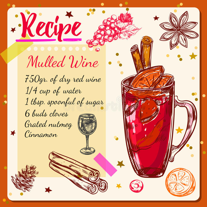 Sketch Mulled Wine Recipe stock illustration
