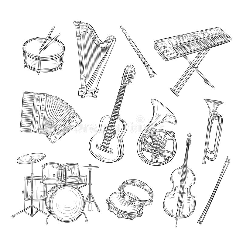 Sketch musical instruments. Drum harp flute synthesizer accordion guitar trumpet cello. Music vintage outline hand drawn royalty free illustration