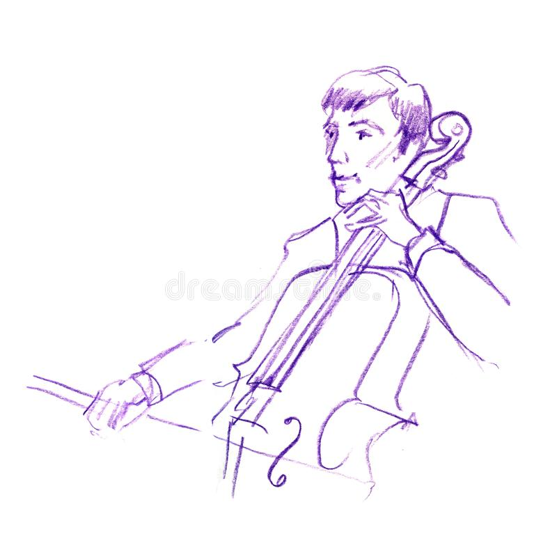 Sketch of musician playing contrabass, Hand drawn color pancil illustration stock illustration
