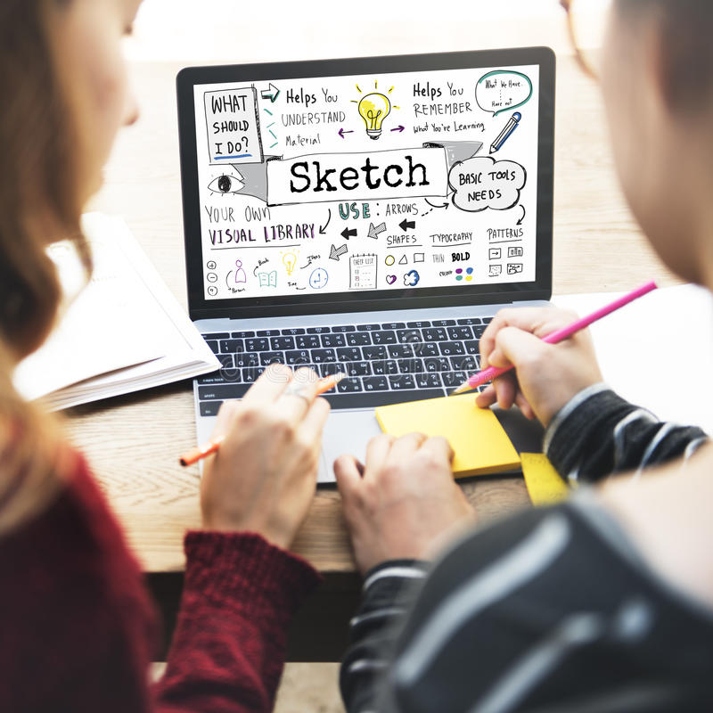 Sketch Notes Creative Drawing Design Graphic Concept stock photos