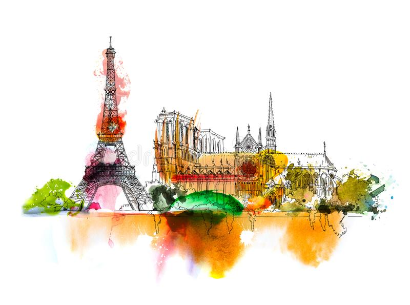 Sketch of Notre dame de Paris. Sketch with colourful water colour effects. Italy vector illustration