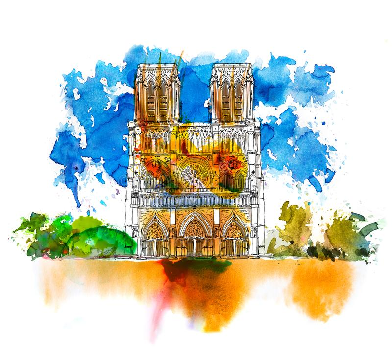 Sketch of Notre dame de Paris. Sketch with colourful water colour effects. Italy stock illustration