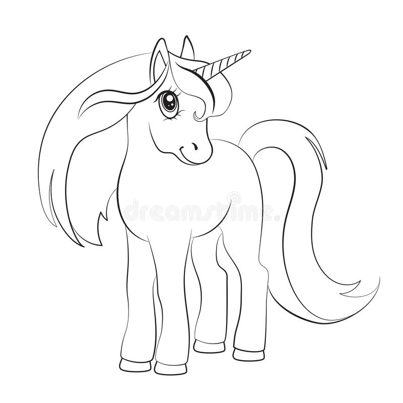 Free Sketch Of A Unicorn For Coloring, On A White Background. Royalty Free Stock Image - 109393846
