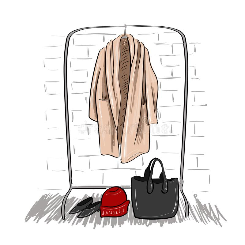 Free Sketch Of Coat Hanging On A Hanger Royalty Free Stock Image - 145032336