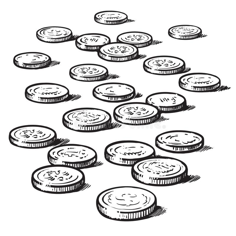 Free Sketch Of Coins Isolated On White Background. Vector Stock Images - 123770444