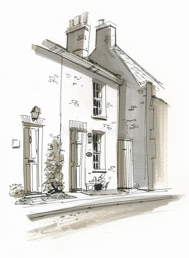 Free Sketch Of Cottage In Burhham Market, Norfolk, UK Royalty Free Stock Images - 26552689