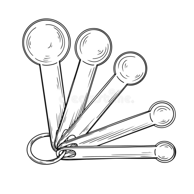 Free Sketch Of Different Measuring Spoons Isolated On White Background. Vector Royalty Free Stock Photo - 144181175