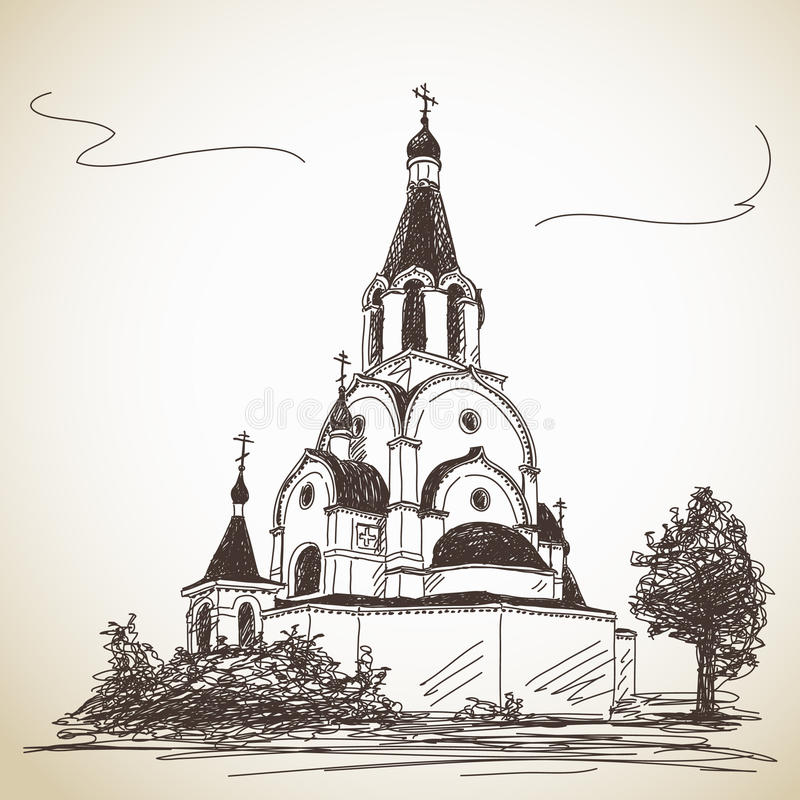 Free Sketch Of Russian Orthodox Church Royalty Free Stock Image - 41398636