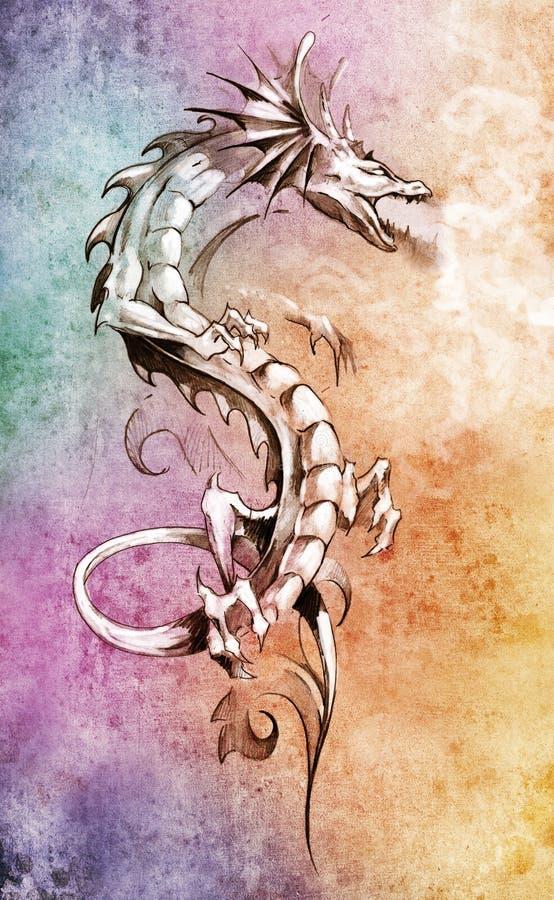 Free Sketch Of Tattoo Art, Big Medieval Dragon Royalty Free Stock Photos - 24140268