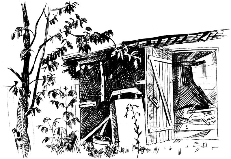 Sketch of an old barn. With tree vector illustration