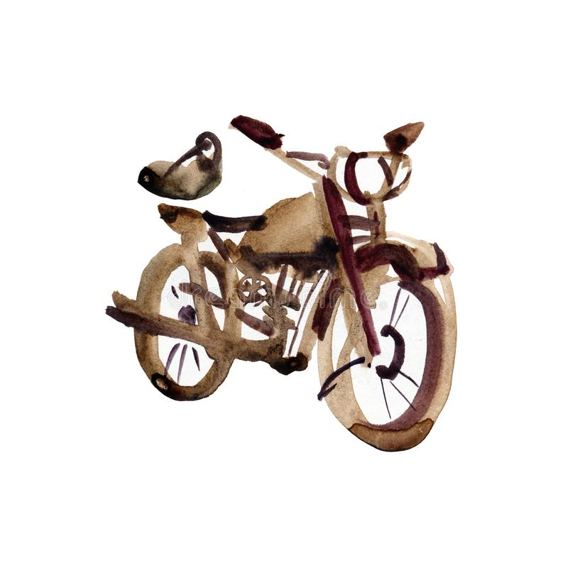 Sketch of old motorcycle in vintage style. Hand drawing watercolor and ink. Isolated on white background vector illustration