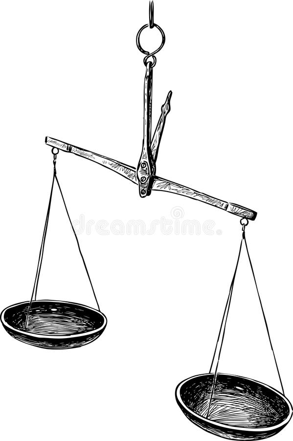 Sketch of old scales stock vector. Illustration of drawing ... Balance Scale Sketch