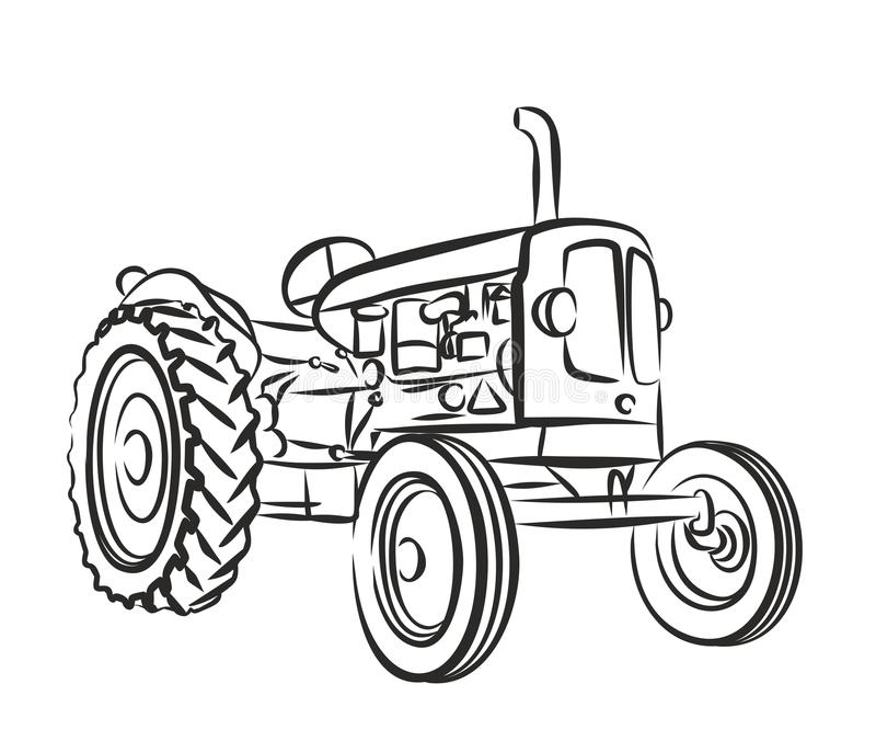 Sketch of old tractor. vector illustration