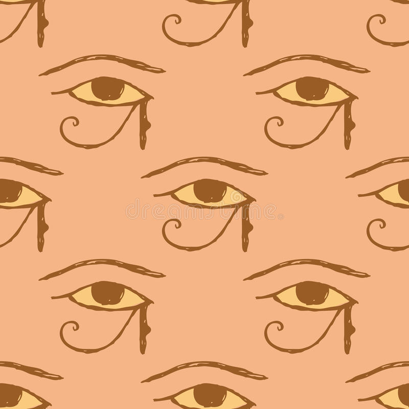 Sketch Osiris eye in vintage style. Vector seamless pattern royalty free illustration