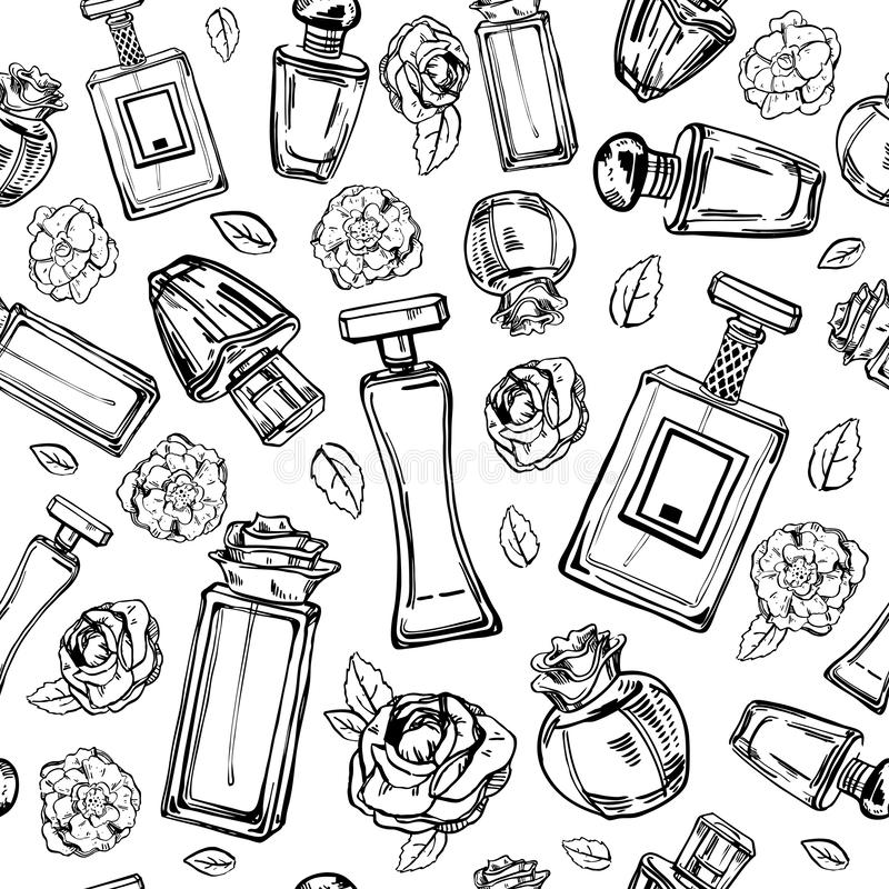 Sketch outline female perfumes bottles with flowers. Vector hand drawn black and white seamless pattern stock illustration