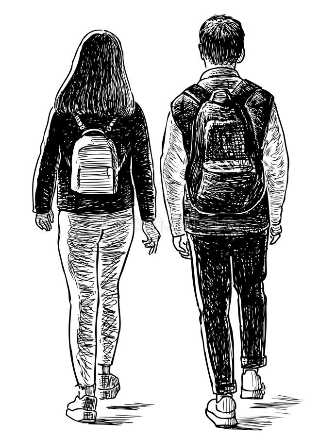 Sketch of a pair of students going on a stroll. Hand drawing of a couple of teen students walking down the street stock illustration