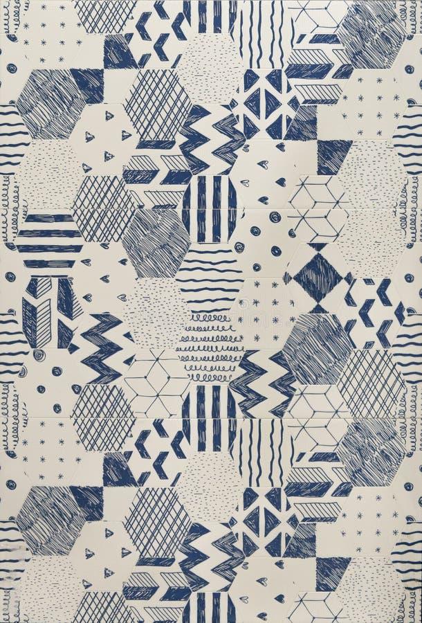 Sketch pattern tile. Blue line sketch pattern tile royalty free stock photo