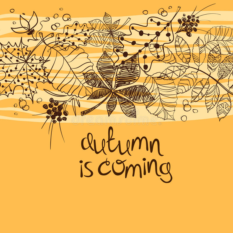 Sketch Patterned Autumn Leaves Concept. Sketch patterned autumn leaves on a yellow background. Creative autumn concept royalty free illustration