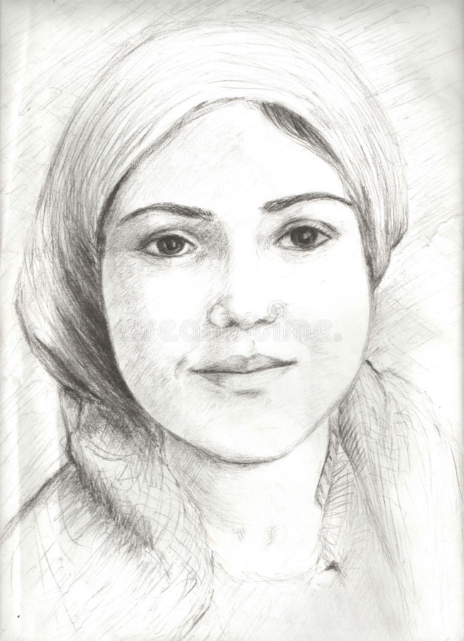 Sketch in pencil of a beauty girl vector illustration