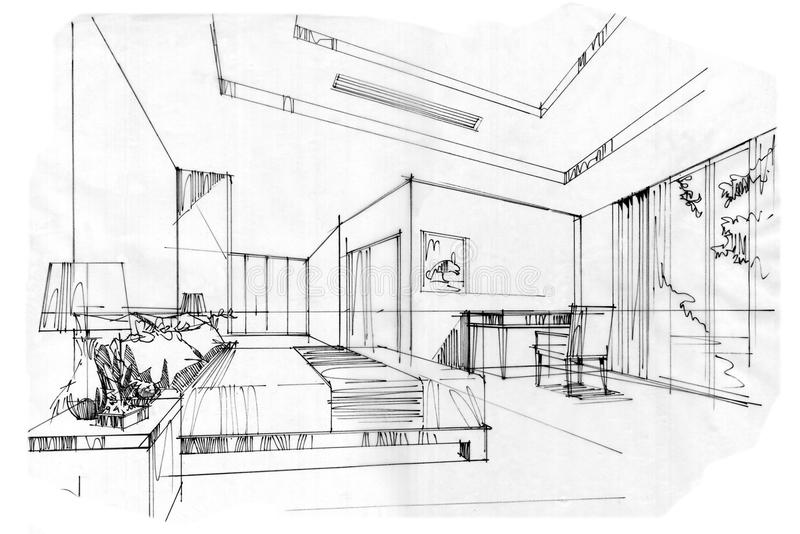 Sketch Perspective Interior Bed Room , Black And White ...