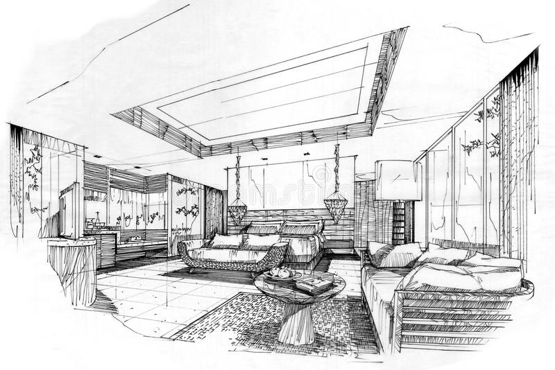 Sketch Perspective Interior Bedroom , Black And White ...