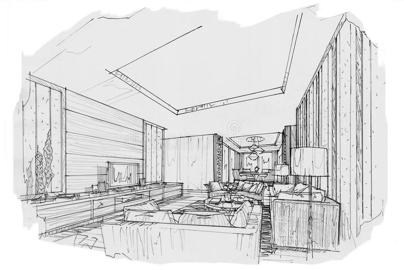 Download Sketch Perspective Interior Living Room , Black And White Interior  Design. Stock Illustration