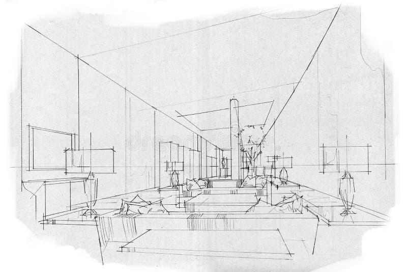Sketch perspective interior living VIP , black and white interior design. stock illustration