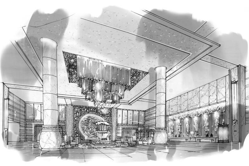 Sketch Perspective Interior Lobby , Black And White Interior Design on ceiling lighting interior design, dark interior design, nordic interior design, black interior designers, all black and white interior design, modern minimalist house design, modern hotel bar and lounge interior design,