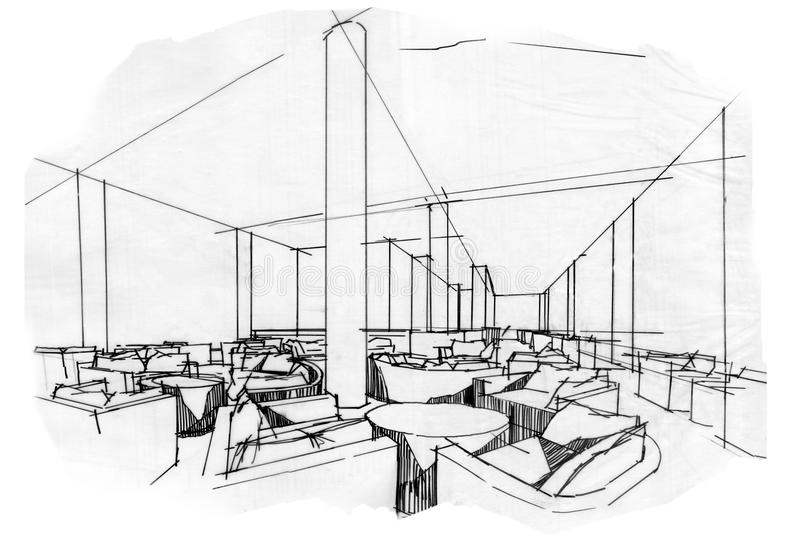 Download Sketch Perspective Interior Lobby Lounge , Black And White Interior  Design. Stock Illustration