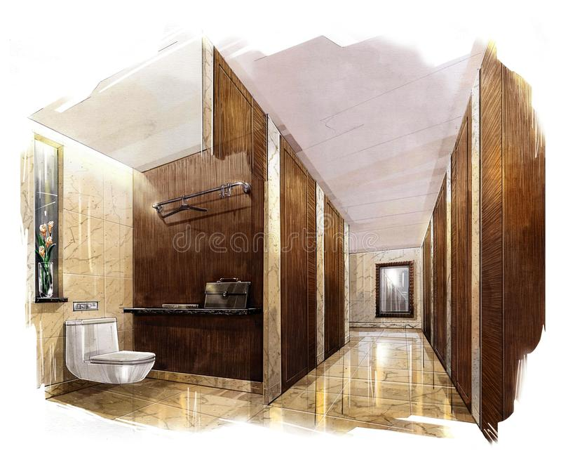 Sketch Perspective Interior PUBLIC TOILET Into A Watercolor On Paper ...