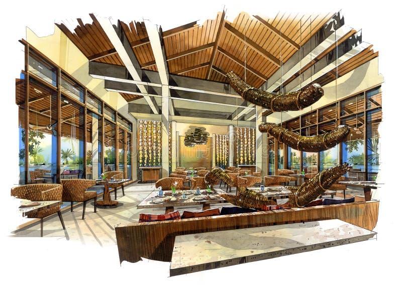 Sketch perspective interior restaurant into a watercolor