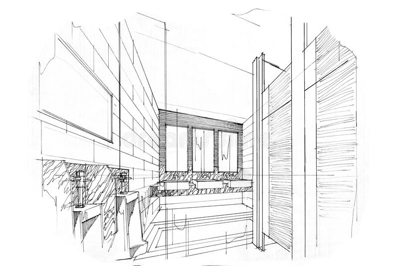Download Sketch Perspective Interior Toilet U0026 Bathroom , Black And White Interior  Design. Stock Illustration