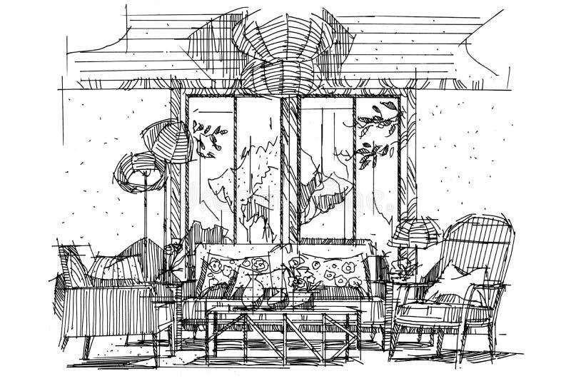 Sketch perspective stripes living. Black and white interior design royalty free illustration