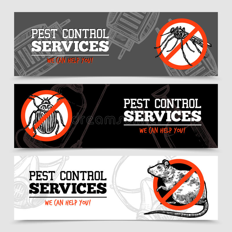Sketch Pest Control Insect Banners royalty free illustration