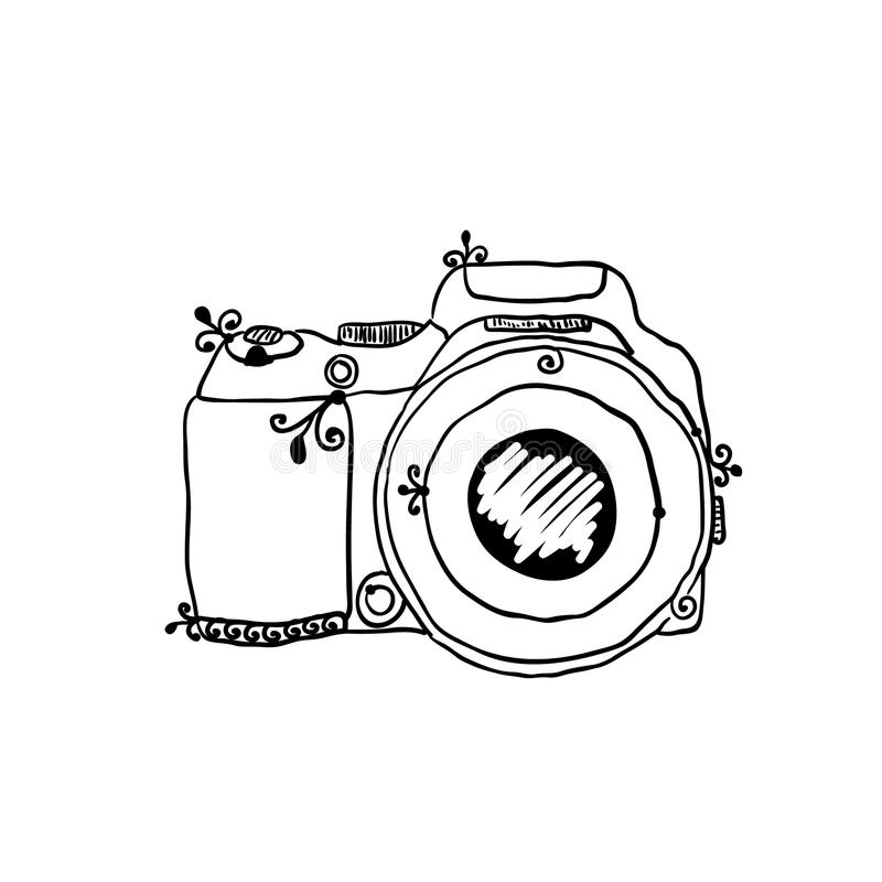 The sketch of a photo camera drawn by hand vector illustration
