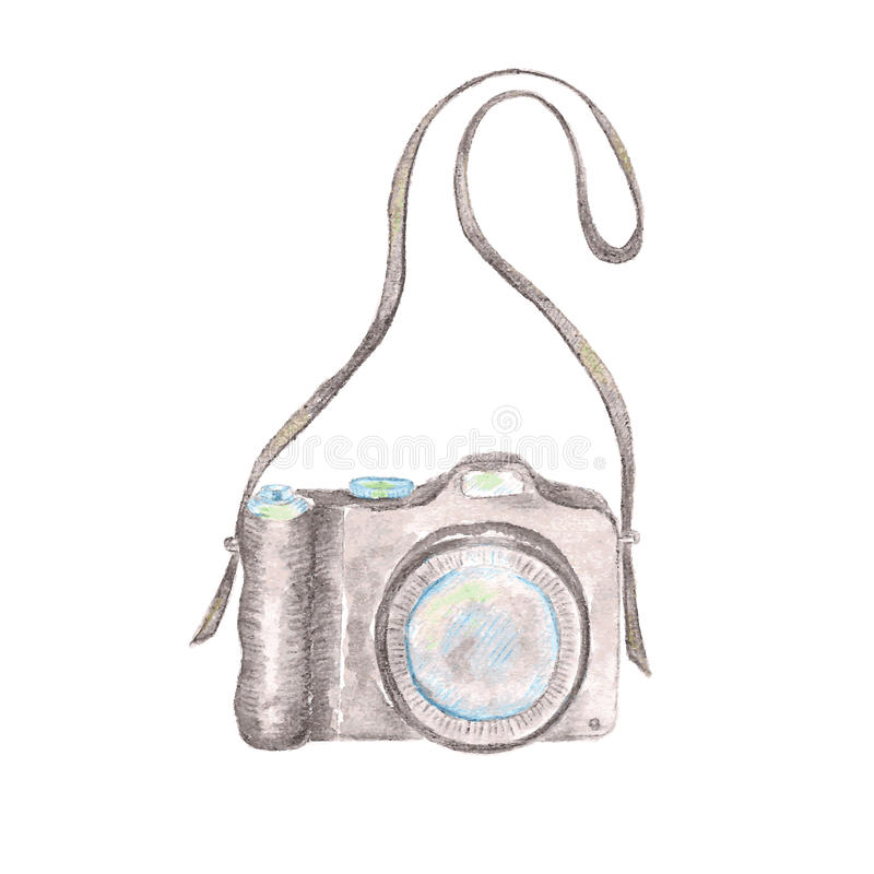 Sketch of a photo camera drawn by hand stock illustration