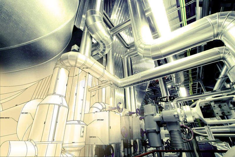 Sketch of piping design mixed with industrial photo. Sketch of piping design mixed with industrial equipment photo royalty free illustration